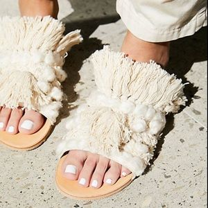 Free People Mars At Night Slide Sandal In Cream